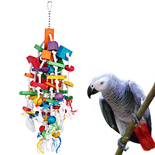 Bird Chewing Toy Large Medium Parrot Cage Bite Toys African Grey Macaws Cockatoos Eclectus Amazon (Waterfall-23.6inch)