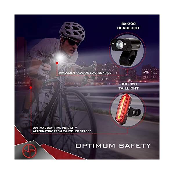 BX-300 USB Rechargeable LED Bike Light Set Front and Back Cycling Safety Ligh...