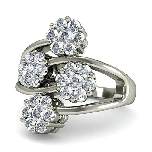 14K Or blanc, 0.78carat Diamant Taille ronde (IJ | SI) en diamant