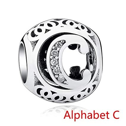 7c6457a7c Image Unavailable. Image not available for. Color: Ochoos 925 Sterling  Silver Vintage A to Z Clear CZ Alphabet Letter Charms Beads Fit Original
