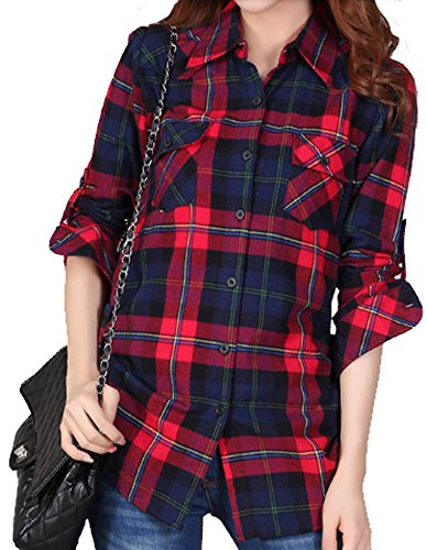 Women's Fashion Mid-Long Style Roll-Up Sleeve Plaid Flannel Shirt