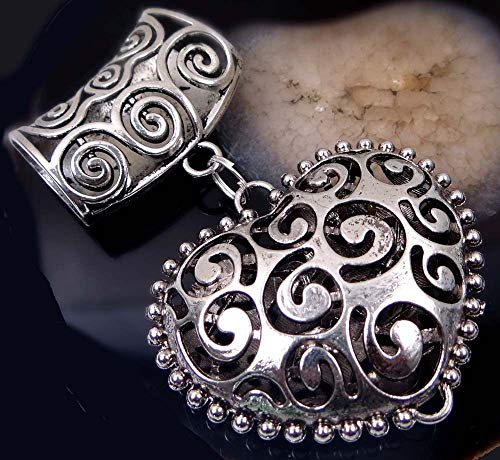 (Scarf Pendant Silver Pewter Filigree Spiral Heart Slide Scarves)