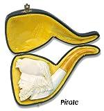 White Full Bent Hand Carved Pirate Captain Turkish Meerschaum Smoking Pipe