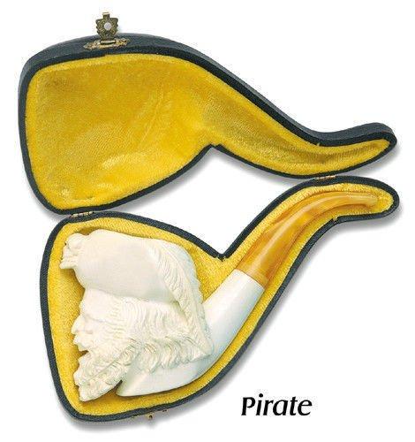 Pipe Meerschaum Hand - White Full Bent Hand Carved Pirate Captain Turkish Meerschaum Smoking Pipe