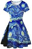 GLUDEAR Womens 3D Print Short Sleeve Unique Casual Flared Midi Dress