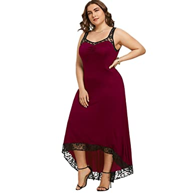 YTJH Sexy Plus Size Lace High Low Hem Heart Neckline Formal Party Maxi Sundress Dress