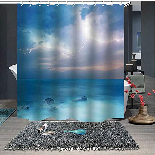 AngelDOU Nature Fashion Styles Printed Shower Curtain Rocks in The Tropical Ocean and Big Dense Flashes in The Air Forces of Nature Ar for Home Hotel Club Bathroom Decoration]()