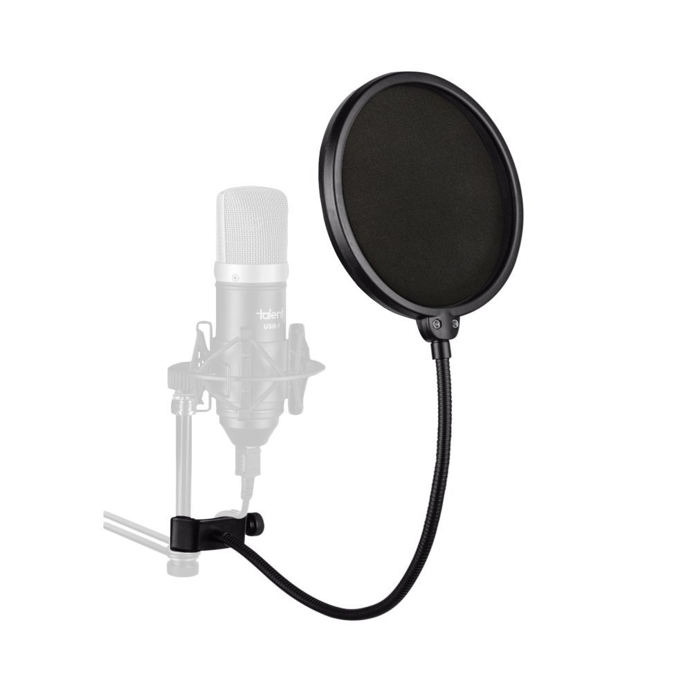 Studio Microphone Mic Filter Mask - Wonder4 Updated Microphone Pop Filter Dual Layer Mic Pop Shield with Clip Stabilizing Arm for Recording Vocals Home Studio Broadcasting Wonder4 INC. MMF01