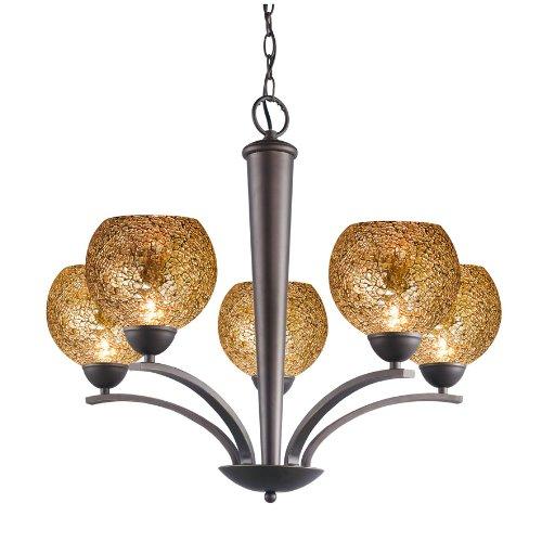 - Woodbridge Lighting 13015MEB-M00MIR North Bay 5-Light Chandelier, 26-1/-2-Inch by 23-1/2-Inch, Metallic Bronze