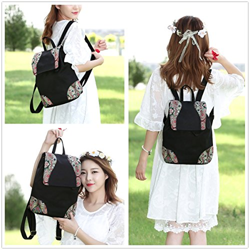 Black Mochila Goodhan Ethnic Embroidery Women Bag Shoulder Travel Cotton Backpack Canvas S04 Handbag Vintage AASOqw1R