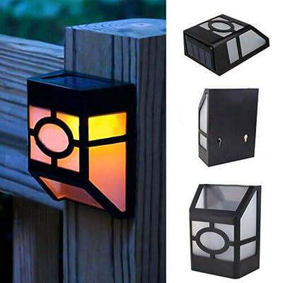 Tooeary Elegant Fence Street Outdoor Path Lights Landscape Lighting Solar Light Wall Lamp(Warm White) : Garden & Outdoor