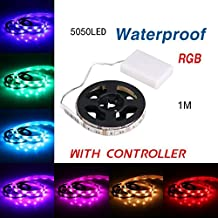 RioRand  RGB Flexible Led Light Strip Waterproof IP65 30 LED DC5V with Controller Battery(100cm)