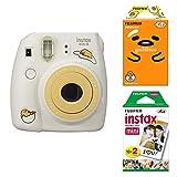 Fujifilm Instax Mini Instant Camera and 2-Film Bundle Set , Gudetama Camera , Twin Pack Film (20) , Sanrio Gudetama Film (10) , Stickers 20pcs for 90 8 70 7s 50s 25 300 SP-1 Printer