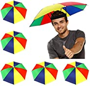 5 Pack Umbrella Hat with Elastic Band, Fishing Umbrella Hat for Adults Kids Women Men, Umbrella Hat for Outdoo
