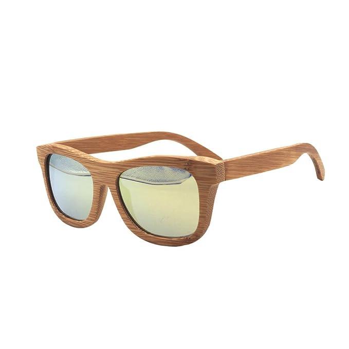 Gafas de sol de madera hecho a mano 100% de bambú polarizada lente Amarillo