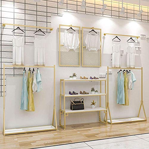 Modern Clothing Display Racks Customized Metal Garment Rack Clothes Store Interior Design Rustic Boutique Used Clothes Racks for Showroom Gold Black ()