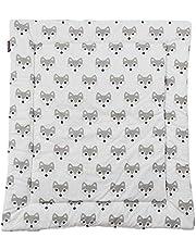 Puckdaddy Aankleedkussen Foxi - 65x75 cm, 100% katoenen aankleedkussen met vossenmotief in wit, zacht aankleedkussen voor op de luiertafel, machinewasbaar