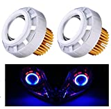 AutoSun Projector Lamp Led headlight Lens projector ( High beam, Low Beam, Flasher function) Set Of 2 For Yamaha R15