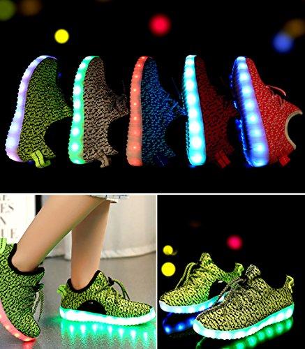ionlyou® 7 Couleur Unisexe Lumineux Clignotants Mode Chaussures de Sports Chaussure de Course Charge USB LED, vert 35, 36