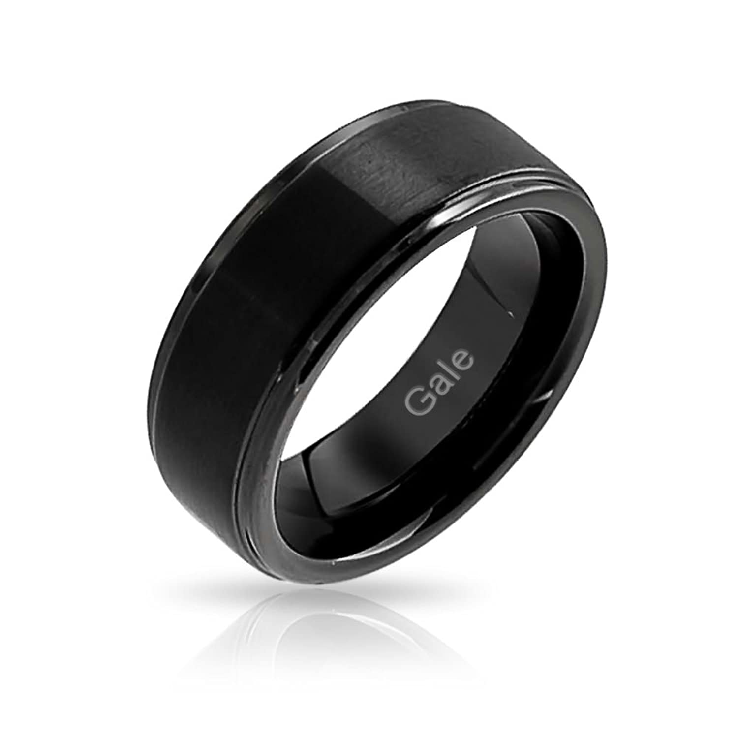 This is a photo of Bling Jewelry Unisex Matte Black Tungsten Wedding Band 42mm