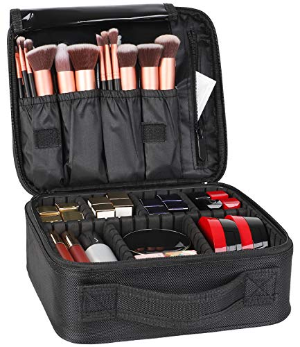 Kootek Travel Makeup Bag Portable Cosmetic Organizer Train Case with Adjustable Dividers for Cosmetics Makeup Brushes Toiletry Jewelry Digital Accessories