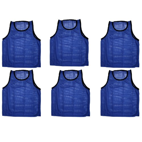 BlueDot Trading Youth 6 Blue sports pinnies- 6 scrimmage training vests