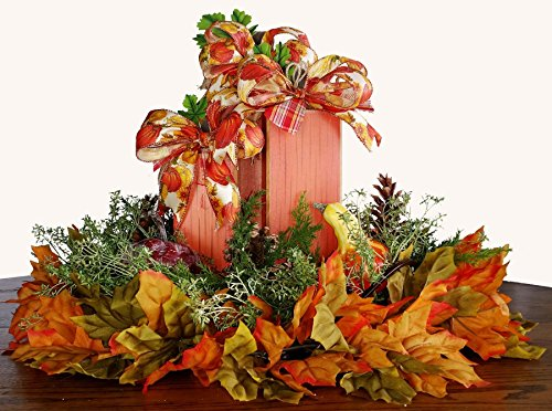 Handmade Fall Square Wood Pumpkin Centerpiece - Autumn Pumpkin Centerpiece - Glass Serving Tray Pumpkin Centerpiece - Fall Pumpkin Pinecone Centerpiece