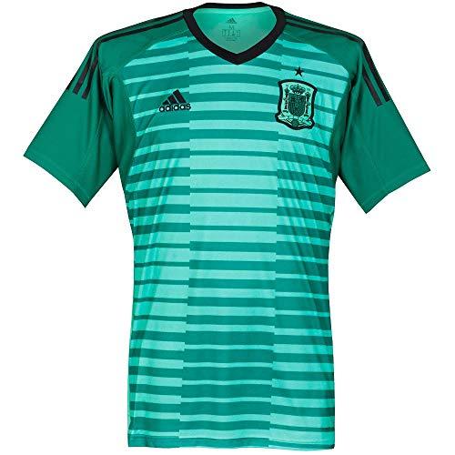 adidas 2018-2019 Spain Home Goalkeeper Football Soccer T-Shirt Jersey (Green)