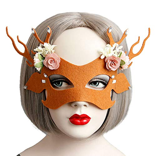 Rose Noir Women Girls Black Gothic Rose Lace Headband Spiderweb Reindeer Witch Hair Accessories Halloween Christmas Party (Flower Deer Mask)