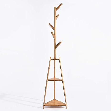 Hododou - Perchero de bambú 2 en 1 con 5 Ganchos para Colgar ...