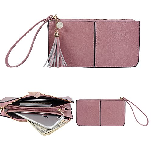 Befen Soft Smartphone Wristlet Wallet Clutch With Exquisite Tassels/Wrist Strap/Card slots/Cash pocket- Fit iPhone 8/7/6 Plus-Cute Deer Pinkish Purple Wristlet