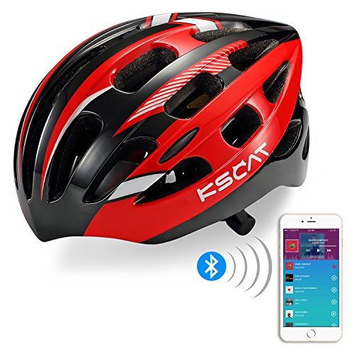 KSCAT Adult Bluetooth Smart Helmet Bone Conduction Helmet Adjustable Road Cycling Mountain Helmet with Mircophone,goggle T01 Red/Blue/Yellow (Red)