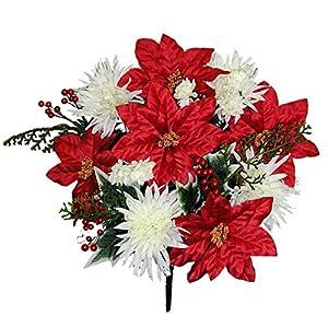 Admired By Nature GPB9781-XMAS RD/cm Faux Mum Poinsettia Berries Christmas Mixed Bush, 33