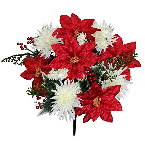 - Admired By Nature GPB9781-XMAS RD/cm Faux Mum Poinsettia Berries Christmas Mixed Bush,