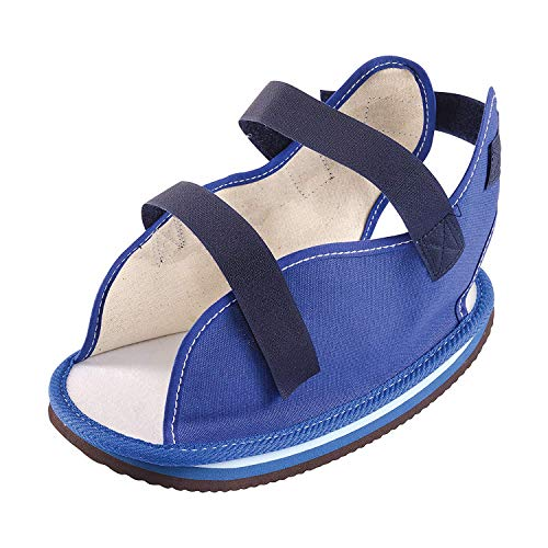 Ossur Canvas Rocker Bottom Cast Shoes - Premium Quality Maximum Post-Op Protection Contact Closure, Open Toe Sandal (Blue, Medium)