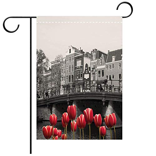 Double Sided Premium Garden Flag Black and White Decorations Monochrome Photo of Amsterdam Canal with Red Tulips Houses Decorative Black White Red Best for Party Yard and Home Outdoor Decor
