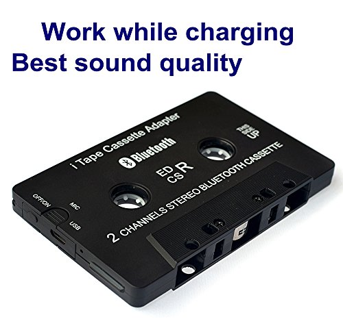 Cassette Player work while charging Bluetooth Receiver Car / Bluetooth Cassette Adapter Music Receiver for Cassette Decks Turn a stereo cassette tape player Bluetooth for wireless music