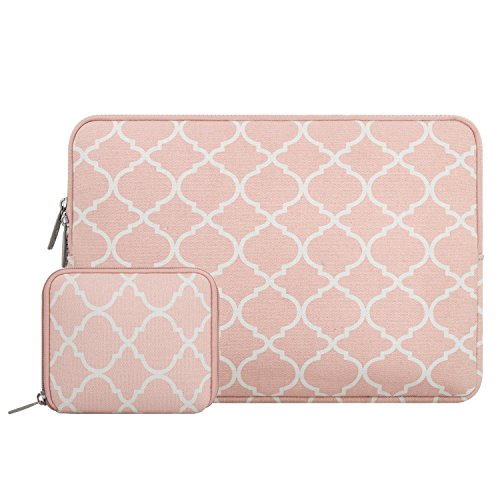 Mosiso Quatrefoil Style Canvas Fabric Laptop Sleeve Case Bag Cover for 13-13.3 Inch MacBook Pro, MacBook Air, Notebook with a Small Case, Rose Quartz