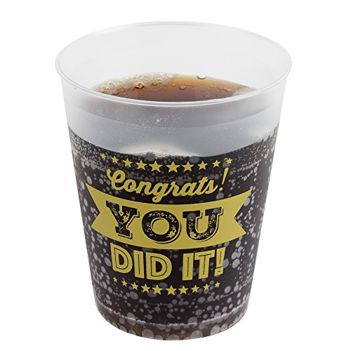 (Graduation Party Cups - Set of 16 Sturdy, Heavy Duty Cups that read 'Congrats, You Did it!' for Grad Parties, Graduation Party Favors, Supplies,)