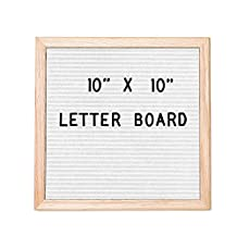 White Felt Letter Board with 308 Letters, Numbers & Symbols - 10x10 Inch Changeable Wooden Message Board Sign