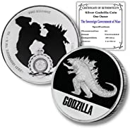 2021 Niue 1 oz Silver Godzilla Coin Brilliant Uncirculated with Certificate of Authenticity by CoinFolio $2 BU