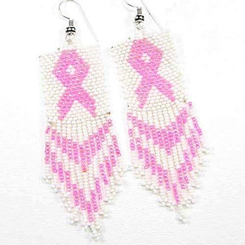 La vivia Handmade Cancer Awareness Seed Beads Beaded Pink Earrings - E-16-SB-59 ()