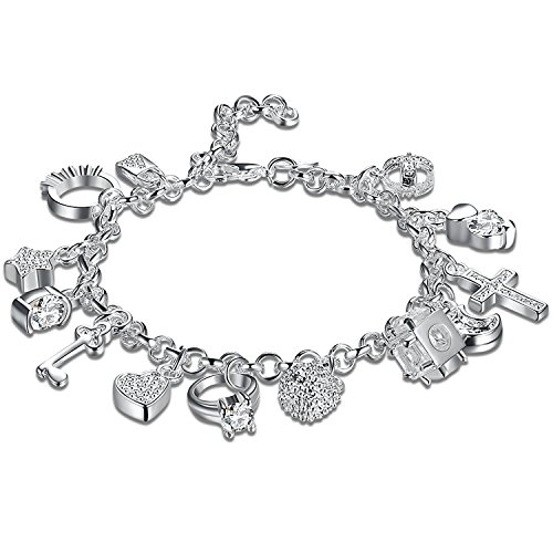 925 sterling Silver Plated Fashion Women 13 Charm pendant Beautiful Bracelet - Silver Plated Fashion Pendant
