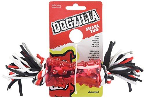 Petmate 30891 Dogzilla Tee Tug Pet Toy, Medium, Red/Black/Grey and White