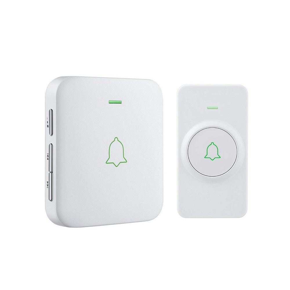 Wireless Door Bell, AVANTEK CW-11 Mini Waterpoof Doorbell Chime Operating at 1000 Feet with 52 Melodies, 5 Volume Levels & LED Flash