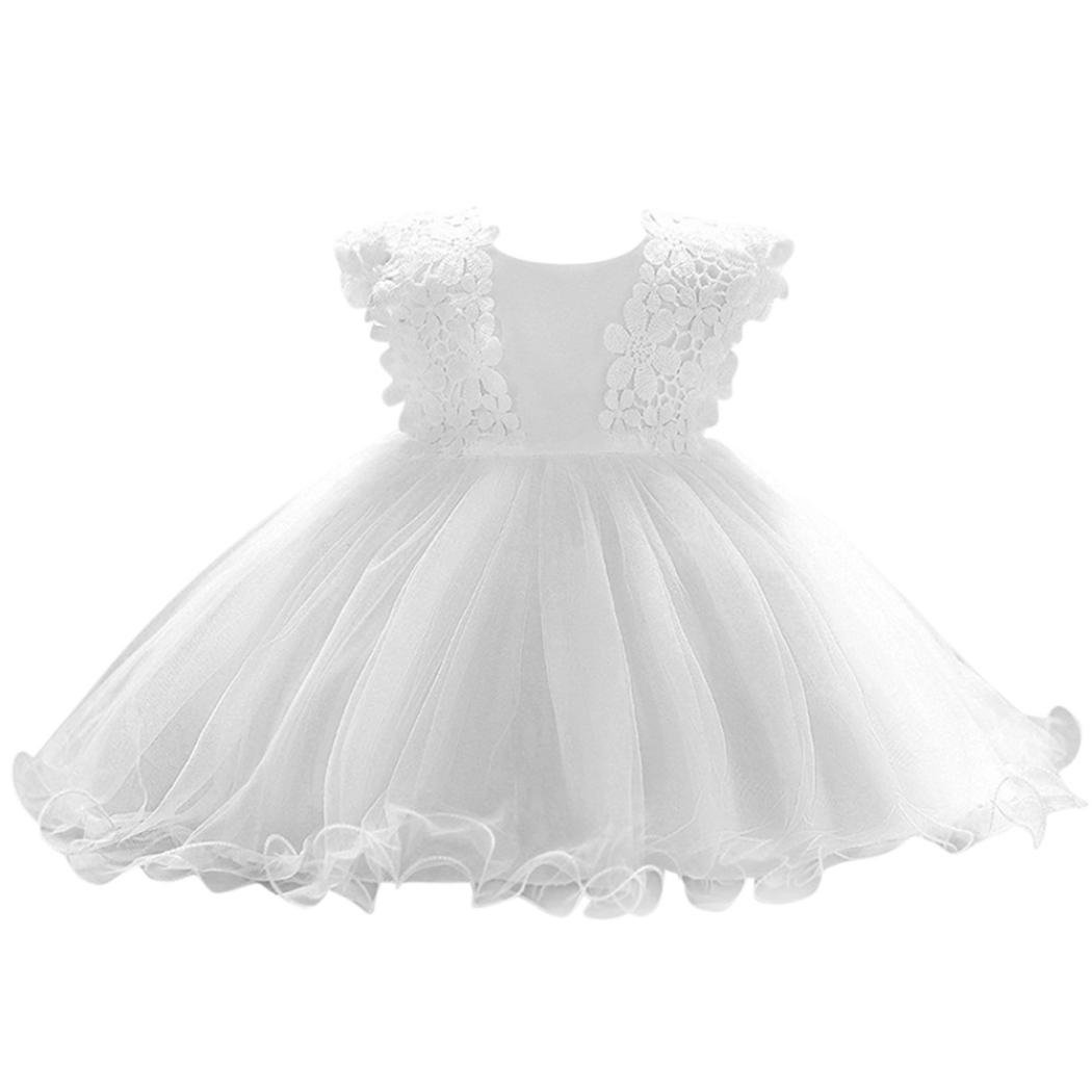 Elevin(TM) Flower Baby Girl Princess Bridesmaid Pageant Gown Party Wedding Dress 0-3T (12M, A White)