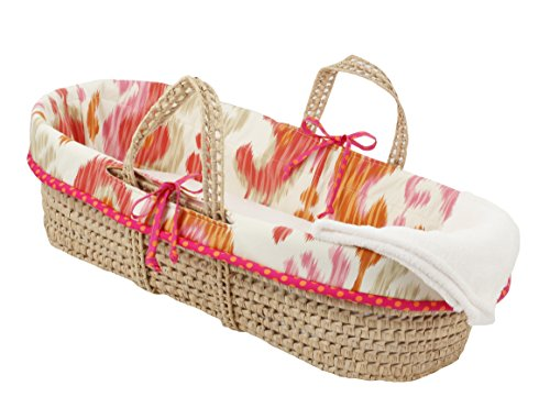 Cotton Tale Designs 100% Cotton Pink Orange Tan Cream Ikat and Polka Dots Girl Wicker Moses Basket by Cotton Tale Designs