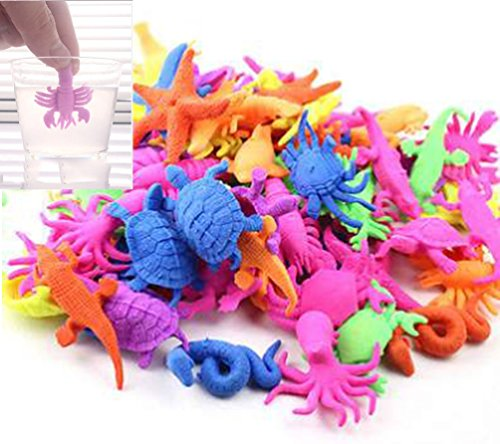 Price comparison product image 9Snail Water Growing Dinosaur, cartoon, animals, Sea Creatures | Bag of 48 pcs. | 1.5 inch - Assorted colors and styles | Expandable Mix Creatures Fun In The Bathtub Garden Pool Or Fountain