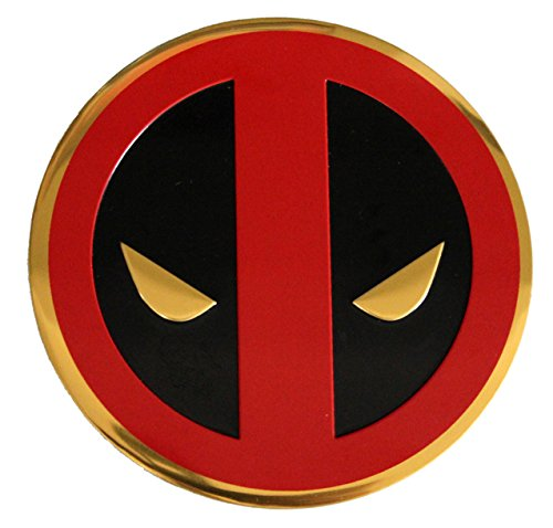 (C&D Visionary Marvel Extreme Classic Deadpool Icon On Gold Metal Sticker, 8cm)