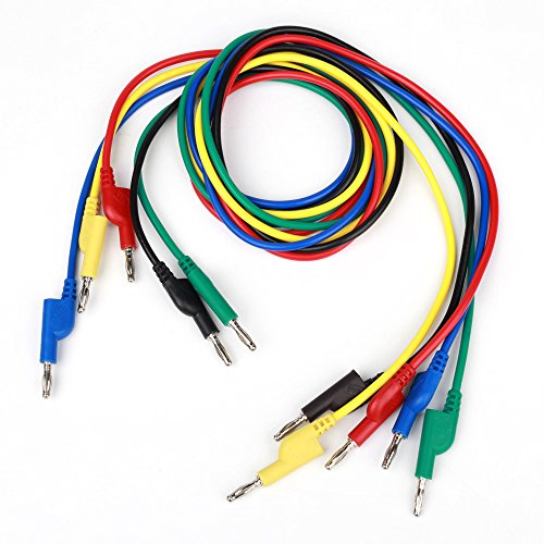 YEHAM 5 Colors Stackable Double-Ended 4MM Banana Plug Test Leads Use for Electrical Testing or Laboratory Electric Testing Work